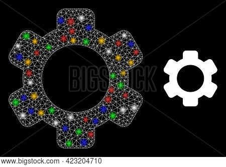 Glowing Mesh Net Gear With Multicolored Bright Dots. Constellation Vector Frame Created From Gear Ic