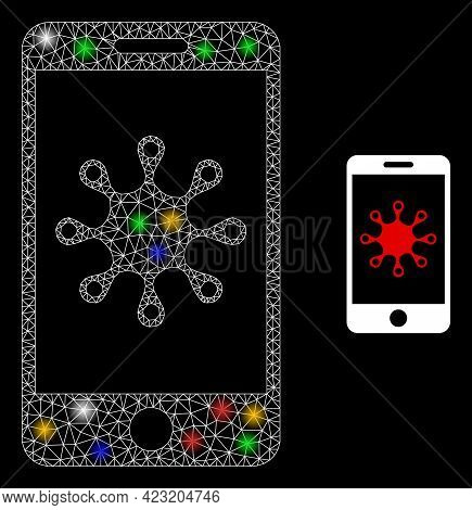 Bright Mesh Net Smartphone Infection With Colored Flash Nodes. Constellation Vector Carcass Created