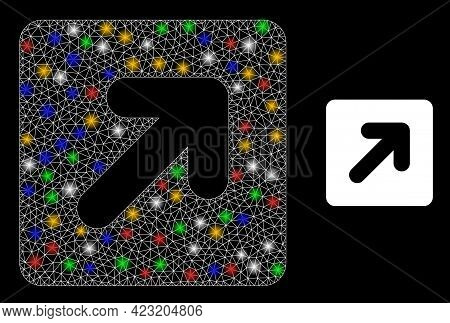 Bright Mesh Net Right Up Direction With Multi Colored Bright Dots. Illuminated Vector Carcass Create