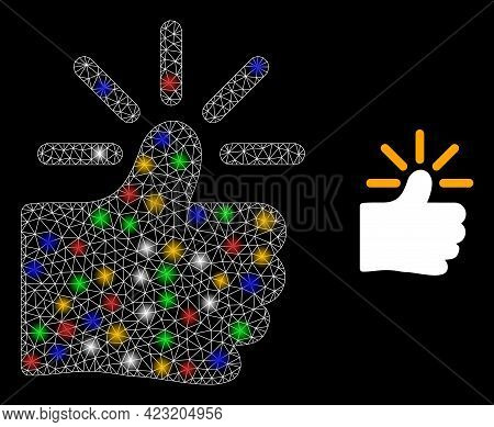 Glowing Mesh Web Shining Thumb With Colored Lightspots. Constellation Vector Carcass Created From Sh