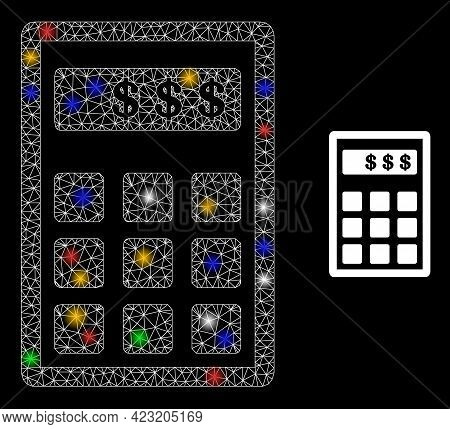 Glowing Mesh Network Dollar Calculator With Vibrant Glowing Spots. Constellation Vector Frame Create
