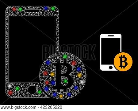 Bright Mesh Network Mobile Bitcoin Payment With Multi Colored Glowing Spots. Illuminated Vector Carc