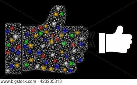 Flare Mesh Net Thumb Up With Vibrant Light Dots. Constellation Vector Mesh Created From Thumb Up Pic