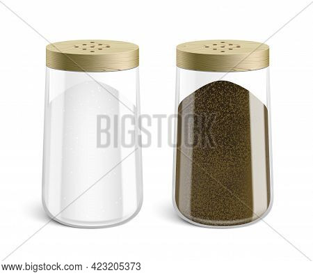 Vector Set Of Salt And Pepper Shakers.