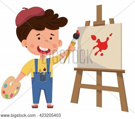Smiling Artist Girl Boy Painting Picture On Canvas On Easel. Child Art Education. Flat Vector Charac