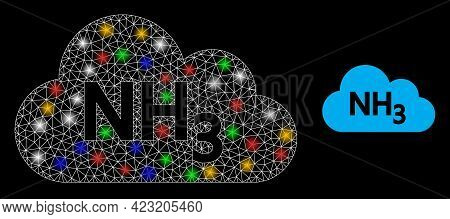 Shiny Mesh Web Ammoniac Gas With Multi Colored Glowing Spots. Constellation Vector Frame Created Fro