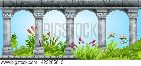 Stone Ancient Arch, Vector Marble Pillar Background, Green Tropical Garden, Paradise Flower, Bush. O