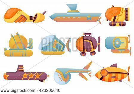 Collection Submarines Undersea. Cute Cartoon Yellow Submarines. Bathyscaphe Underwater Ships. Diving