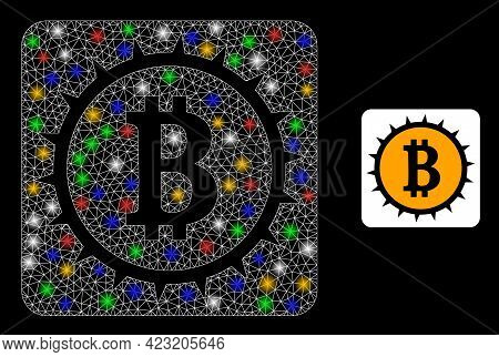Glowing Mesh Web Bitcoin Box With Colored Bright Dots. Constellation Vector Framework Created From B