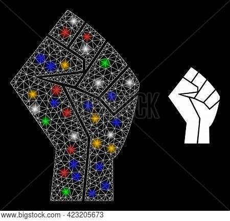 Bright Mesh Web Fist With Vibrant Bright Dots. Illuminated Vector Mesh Created From Fist Icon. Spark