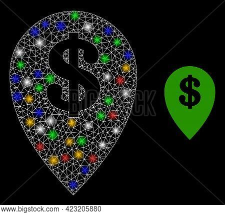 Flare Mesh Web Bank Map Marker With Multi Colored Lightspots. Illuminated Vector Mesh Created From B