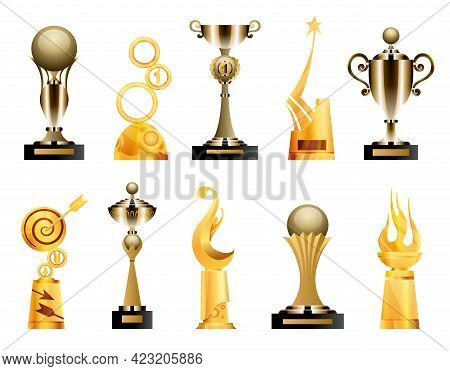 Awards And Trophy Cups. Triumph Sport Awards And Prizes, Winner Trophy Gold Cup Illustration. Best C