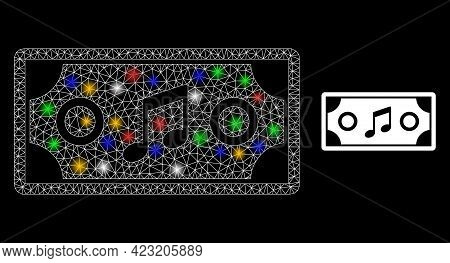 Glare Mesh Network Concert Ticket With Colored Glowing Spots. Constellation Vector Mesh Created From