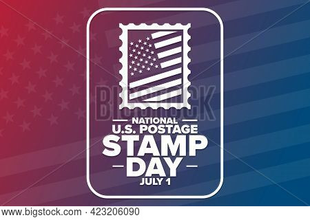 National U.s. Postage Stamp Day. July 1. Holiday Concept. Template For Background, Banner, Card, Pos