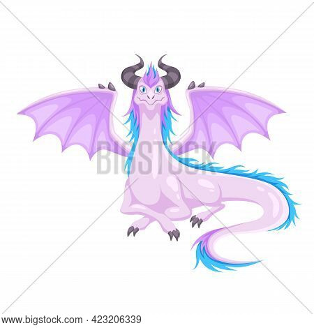 Magic Dragon. Winged With Horns And Wings Purple Dragon. Fantasy Creature, Mythical Cute Reptile, Me