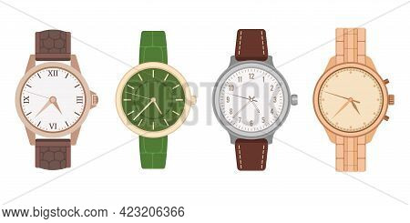 Watch Wrist. Mens And Womens Mechanical Watches With Different Bracelets And Straps. Modern And Vint