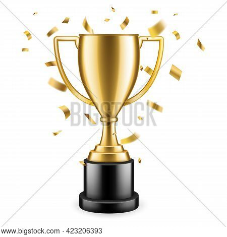 Champion Trophy. Shiny Golden Cup And Falling Confetti On Background, Sport Competition Winner Award