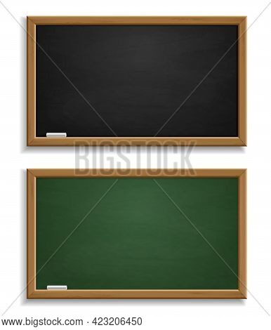 Realistic Blackboard. Green And Black Chalkboard With Wooden Frame And Chalk, Blackboards Template F