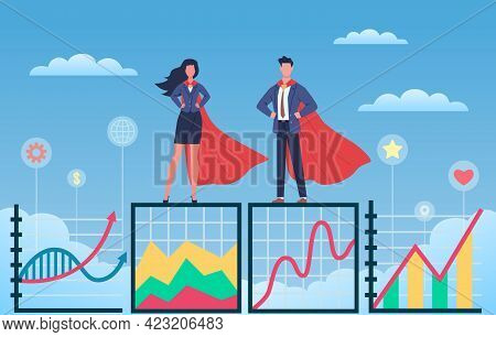 Business Superheroes. Man And Woman In Flowing Capes And Suits Standing On Growth Graph, Professiona