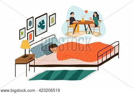 Man Sees Dream. Happy Male Character Lying In Comfortable Bed, Boy In Love, Dreams In Cloud Romantic