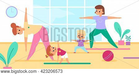 Mothers Yoga With Kids. Moms And Children Group Fitness Class, Joint Spot Activity, Girl And Boy In