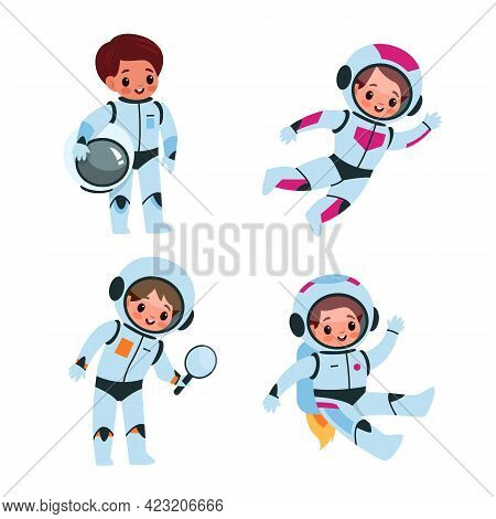 Children In Cosmic Suits And Helmets In Space. Kids Astronauts Explorers Collection, Little Boys And