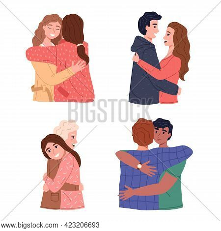 Hugs. Men And Women Pairs Hugging, Romantic And Friends Relationships, Children And Parent, Good Fam