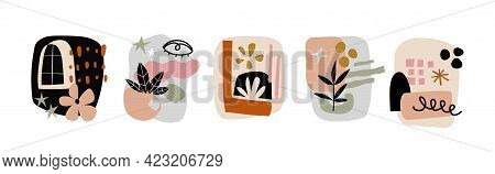 Modern Collages Set. Various Doodle Shapes, Abstract Objects, Botanical Elements, Trendy Geometric F