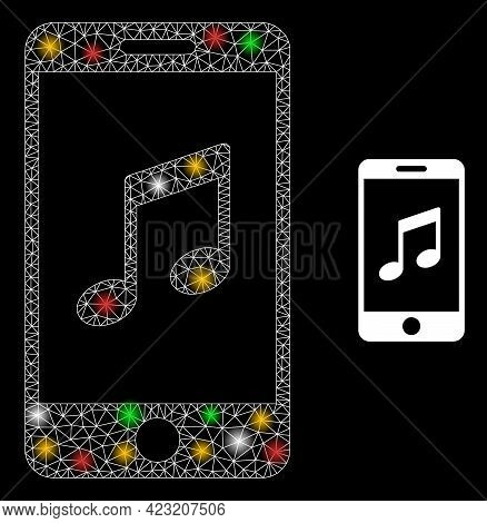 Bright Mesh Network Smartphone Music With Colorful Light Spots. Illuminated Vector Mesh Created From