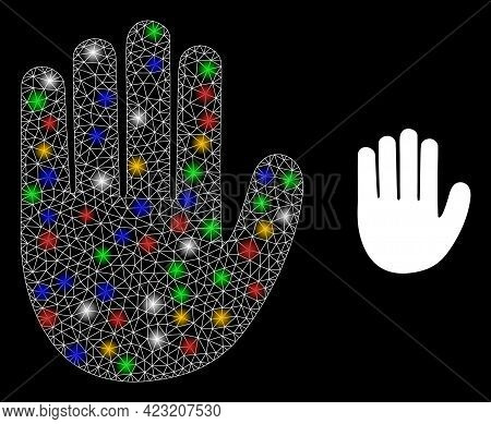 Bright Mesh Network Hand Palm With Multi Colored Flash Nodes. Constellation Vector Mesh Created From
