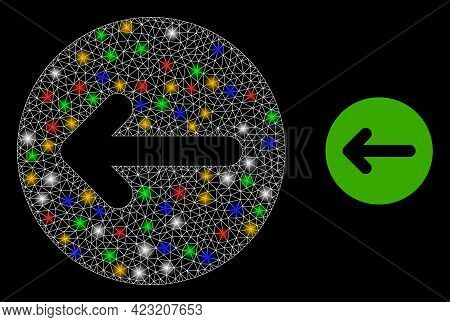 Bright Mesh Web Left Direction With Vibrant Light Dots. Constellation Vector Mesh Created From Left
