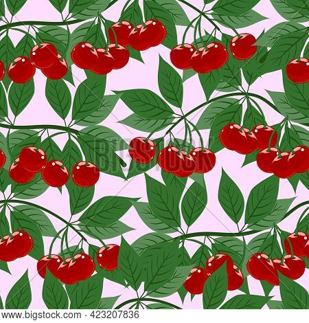 Cherry Branch With Leaves And Ripe Bright Berries, Vector Illustration. Seamless Pattern