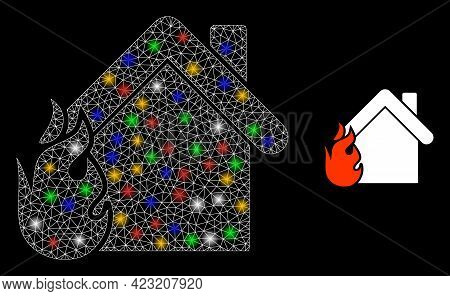 Flare Mesh Network Burning Home With Colored Bright Dots. Illuminated Vector Mesh Created From Burni