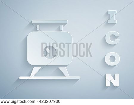 Paper Cut Metal Tank With Grape Juice As Alcoholic Fermentation Icon Isolated On Grey Background. Pa