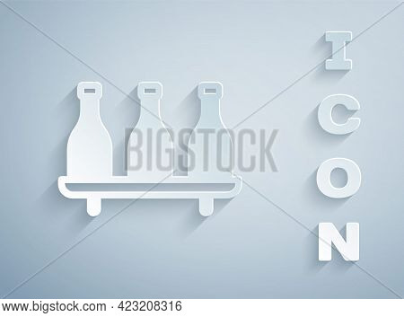 Paper Cut Bottle Of Wine Icon Isolated On Grey Background. Wine Varieties. Paper Art Style. Vector