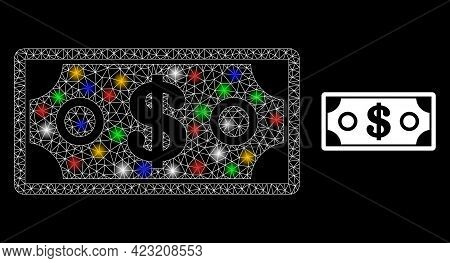 Flare Mesh Network Dollar Banknote With Colored Light Spots. Constellation Vector Structure Created