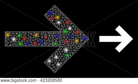 Bright Mesh Network Right Direction Arrow With Colorful Bright Dots. Illuminated Vector Mesh Created