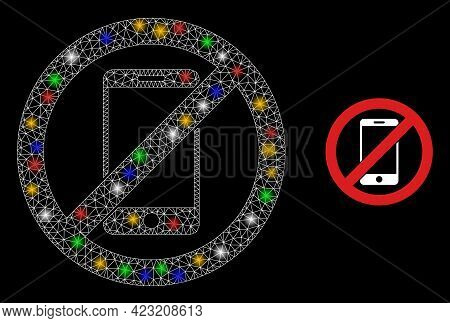 Bright Mesh Net Stop Smartphone With Colorful Bright Dots. Illuminated Vector Mesh Created From Stop