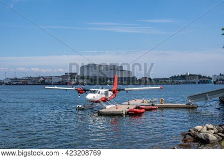 Copenhagen, Denmark - June 09, 2021: A Seaplane Parked At The Harbor