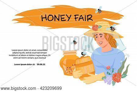 Honey Fair Or Farm Festival Banner Template With Woman Beekeeper Presenting Harvest Of Honey, Flat V