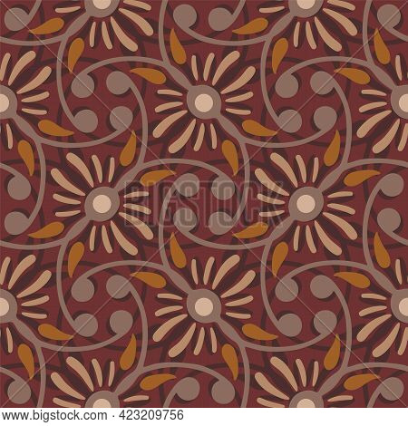Vector Flowers And Winding Stems Seamless Pattern Background