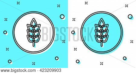 Black Line Cereals Set With Rice, Wheat, Corn, Oats, Rye, Barley Icon Isolated On Green And White Ba