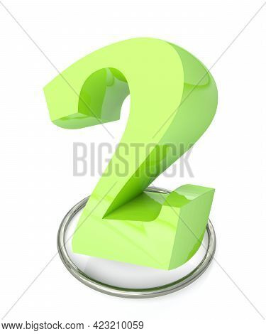 Number 2 Green Over Metallic Circle On White Background - 3d Rendering Illustration