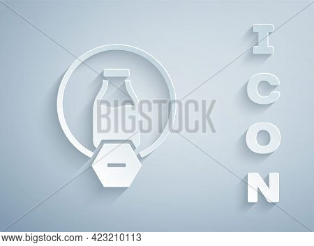 Paper Cut Lactose Free Icon Isolated On Grey Background. Paper Art Style. Vector