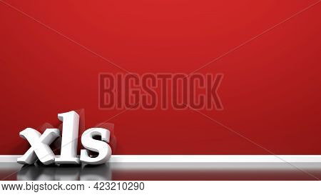 Xls Write Leaning At Red Wall - 3d Rendering Illustration
