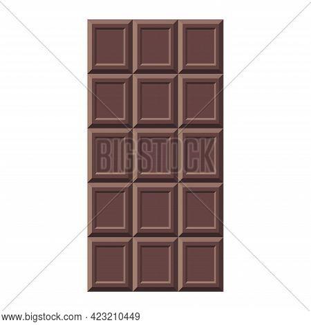 Dark Chocolate Bar Isolated Vector Illustration. Flat Style Cacao Candy For Logo, Menu, Emblem, Temp