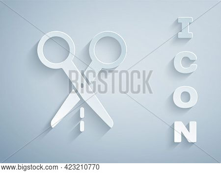 Paper Cut Scissors With Cut Line Icon Isolated On Grey Background. Tailor Symbol. Cutting Tool Sign.