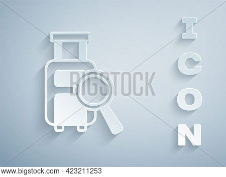 Paper Cut Airline Service Of Finding Lost Baggage Icon Isolated On Grey Background. Search Luggage.