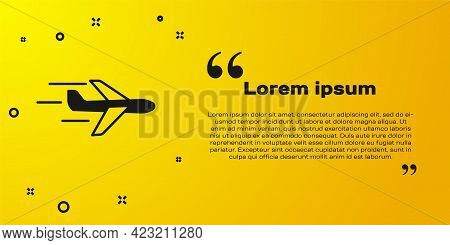 Black Plane Icon Isolated On Yellow Background. Flying Airplane Icon. Airliner Sign. Vector