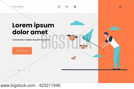 Man Catching Flying Money With Butterfly Net. Cash, Coin, Hunt Flat Vector Illustration. Finance, Mo